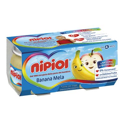 NIPIOL OMOGENEIZZATO FRUTTA GR.80X2 BANANA/MELA