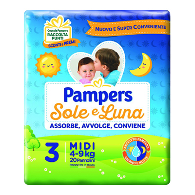 PAMPERS SOLE E LUNA MIDI X 20