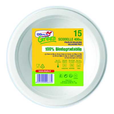 DOPLA GREEN SCODELLE CC400 X16BIANCHI 100% BIODEGRADABILI