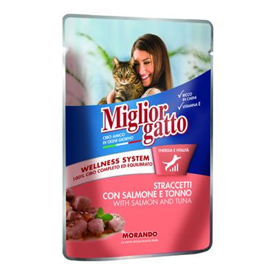 MIGLIOR GATTO POUCH STRACCETTISALM./TONNO GR.100