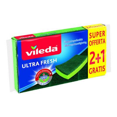 VILEDA SPUGNA ABRASIVA ULTRA FRESH 2+1