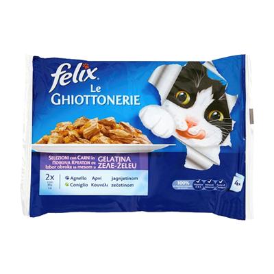 FELIX GHIOTTONERIE GATTO CONIGLIO&AGNELLO GR.100X4