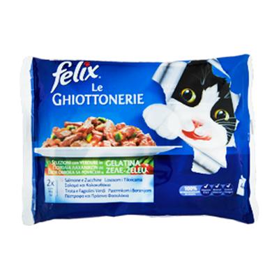 FELIX GHIOTTONERIE GR.100X4 SALMONE-ZUCCHINE/TROTA-FAGIOLINI