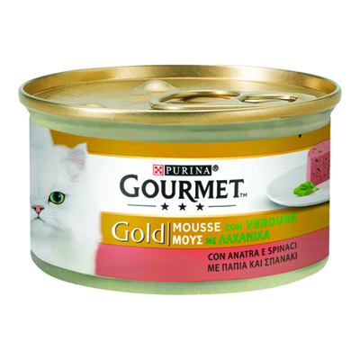 GOURMET GOLD MOUSSE CON ANATRAE SPINACI GR.85