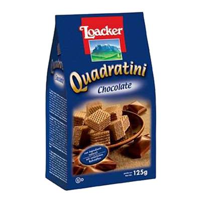 LOACKER WAFER QUADRATINI GR.125 CHOCOLATE